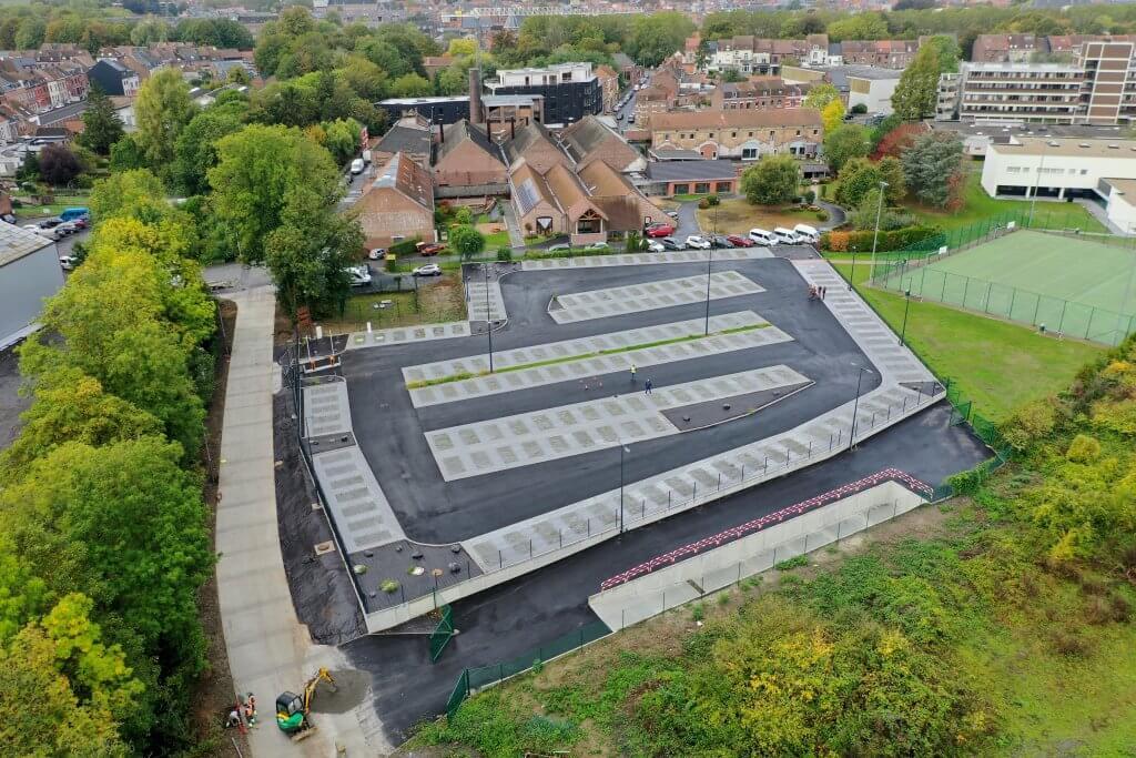 Vue aérienne du nouveau parking Condorcet par l'équipe drone