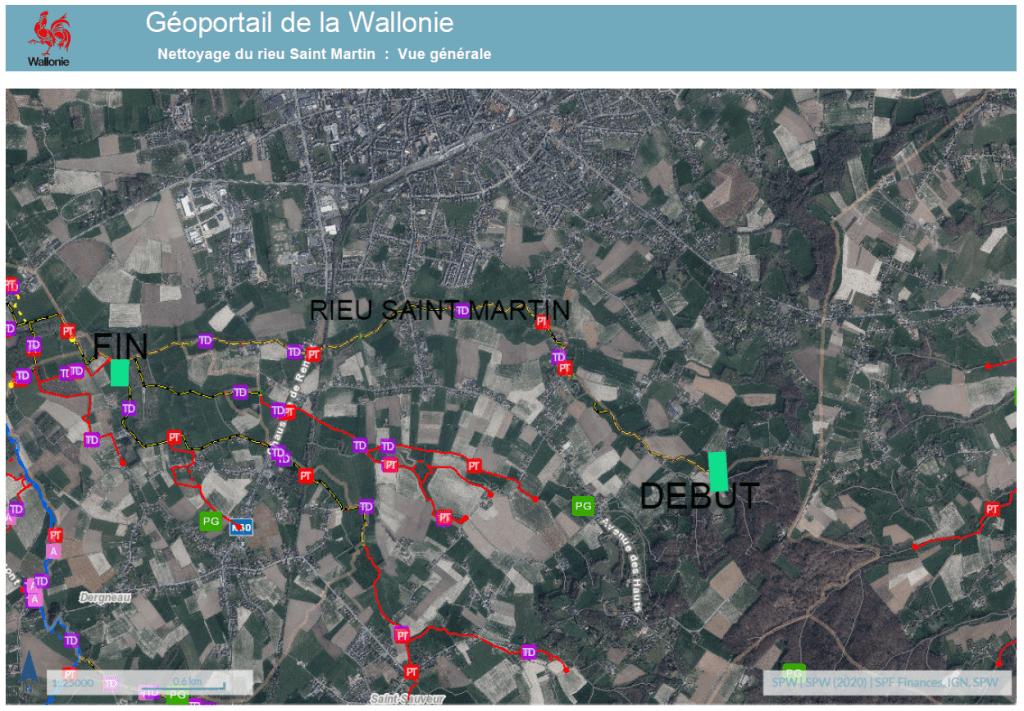 Plan de localisation des travaux d'entretien du Rui Saint Martin