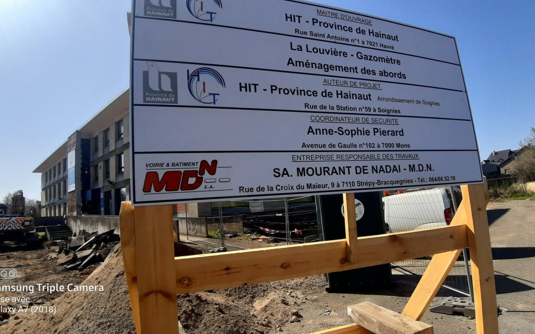 Chantier d'aménagement des abords du Gazomètre à La Louvière