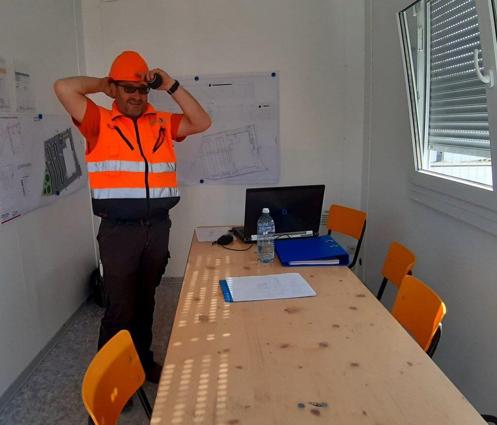 Photo de notre collègue Frédéric qui suit de près le chantier