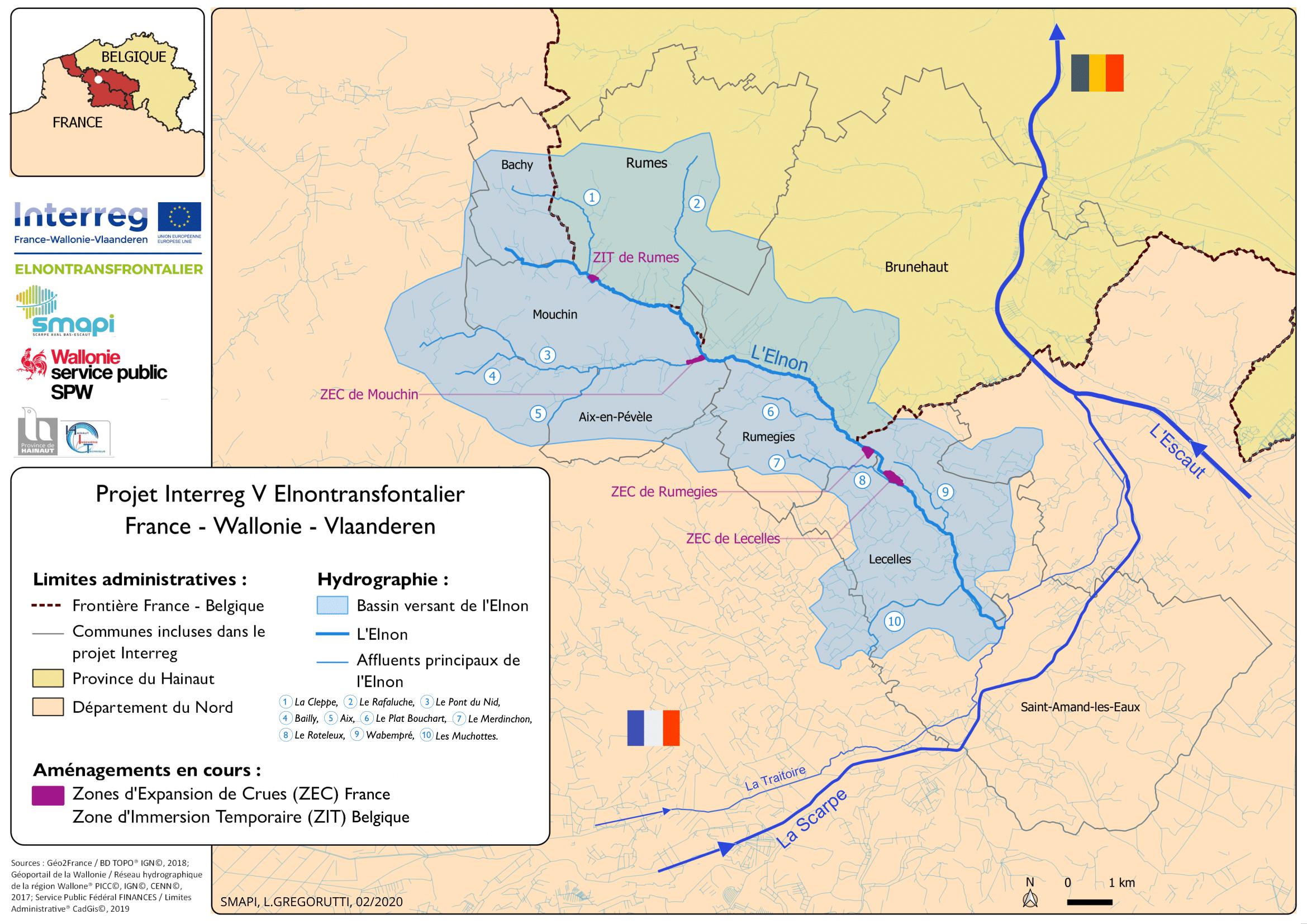 Carte de situation du programme Elnontransfrontalier